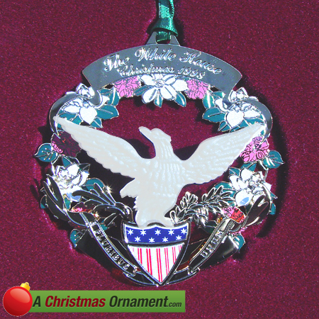 1998 White House James Buchanan Holiday Wreath Ornament