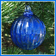 Cobalt Blue Crystal Glass Optic Three Inch Ornament Ball - Wholesale