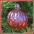 Cranberry Red Crystal Glass Optic Three Inch Ornament Ball - Wholesale