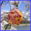 Cherry Blossom Crystal Glass Ornament Ball - Wholesale