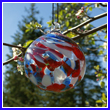 Red, White and Blue Patriotic Crystal Glass Ornament - Wholesale