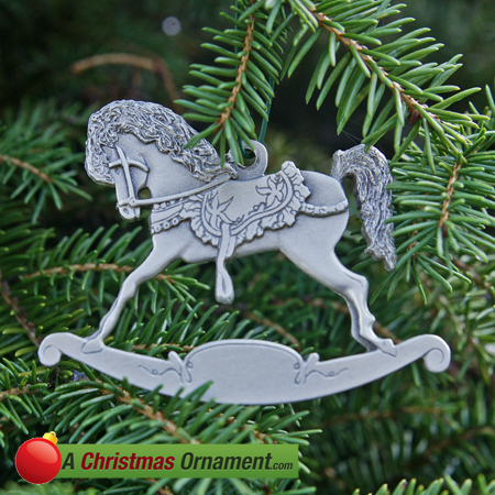"Pewter ""1st Christmas"" Rocking Horse Ornament"